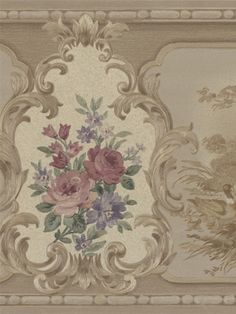 Schumacher Vintage Wallpaper Border Lily Taupe Peach White Beige PRICED PER YARD