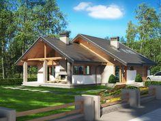 Cechą charakterystyczną projektu jest rozłożysty, dwu-spadowy dach, który nadaje budynkowi monumentalny wygląd.