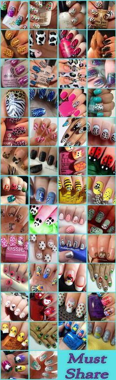 25 Easy Nail Art Designs (Tutorials) for Beginners - 2019 Update Animal Themed Nail Arts Collection: Here we are sharing 50 such amazing nail arts which are inspired by animals. Fancy Nails, Love Nails, Diy Nails, Fancy Nail Art, Crazy Nails, Simple Nail Art Designs, Cute Nail Designs, Animal Nail Designs, Animal Nail Art