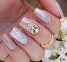 Great Inspiration Nail Art With Glitters To Look More Elegant Nail 02 Fabulous Nails, Perfect Nails, Gorgeous Nails, Love Nails, Pretty Nails, Bridal Nails, Wedding Nails, Gel Uv Nails, Nail Designer
