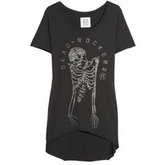Zoe Karssen Dead Rockers cotton and modal-blend T-shirt found on Polyvore featuring polyvore, women's fashion, clothing, tops, t-shirts, shirts, tees, t shirt, curved hem t shirt and short sleeve t shirts