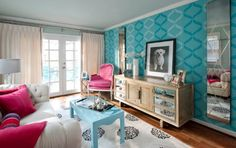 Blue and pink decor