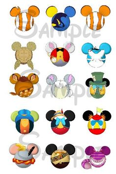 Various Disney character inspired Mickey head DIGITAL Bottle Cap image sheet 4x6 1 inch  DIY