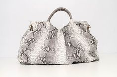 The Josephine Hobo Satchel in Natural Python. Contact info@societymisfits.com.