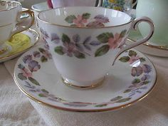 Aynsley Teacup and Saucer April Rose