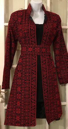 Beautiful Black Jacket / Coat with Red Palestinian Cross Stitch / Embroidery Batik Fashion, Abaya Fashion, Fashion Dresses, Abaya Mode, Mode Hijab, Muslim Women Fashion, Hijab Stile, Afghan Dresses, Batik Dress