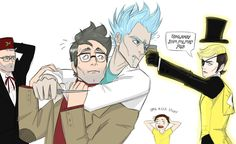 Draw the squad meme: Stan, Ford, Rick and Bill by ProfessorMythology------ Don't ship but lol