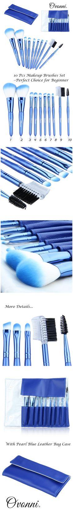 Ovonni 10Pcs Pro Soft Make up Brushes Cosmetic Makeup Brush Set Blue Eyelash Lip w/Case  ww.ebay.co.uk/itm/201217414527