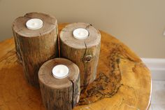 Your place to buy and sell all things handmade Wood Candle Holders, Candle Holder Set, Cedar Log, Fathers Love, Decoration, Tea Lights, Centerpieces, Candles, Neutral