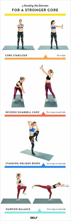 While you shouldn't neglect your floor abs workout entirely, standing exercises are a great way to mix up your regular routine. So give the four-move circuit below a try (be sure to save the Pin below for easy reference). You'll need one dumbbell—start wi Top Fitness, Sport Fitness, Fitness Tips, Health Fitness, Lose Weight Running, Ways To Lose Weight, Weight Loss Tips, Weight Gain, Ab Floor Workout