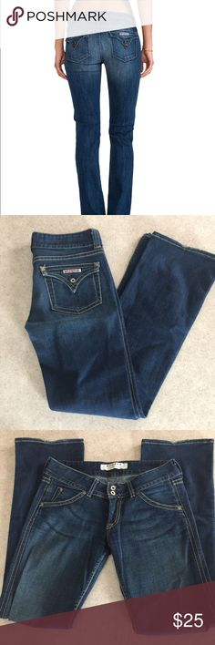 """Hudson bootcut jeans size 30 Jeans in good condition with just a little sign of wear on hem of pant legs (see photo) measurements are 15"""" at waist, 33"""" inseam and 9"""" rise. Please let me know if you need more information on size or measurements for once purchased I am not responsible for fit. Thanks 😀 Hudson Jeans Jeans Boot Cut"""