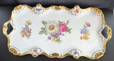 Alka Kunst Floral Decorated Dresser Tray German by ChristiesCurios