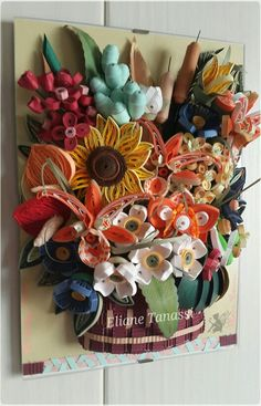Quilled Tropical Basket with Flower Arrangement ~ June 2016 by The Quilling Fairies - Facebook. Quilled Basket with Flower Arrangement on a glass frame. Feel free to visit our page and share if you like! ♡