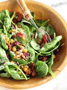 Spinach Salad with Hot Bacon Dressing and Spicy Roasted Chickpeas is a superfood dream | foodiecrush.com