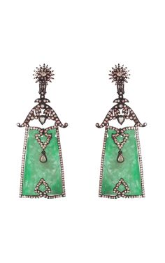 Contemporary. 18k Gold, Carved Jade and Diamond Earrings, Brazil, Silvia Furmanovich.
