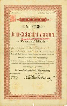 HWPH AG - Historische Wertpapiere - Actien-Zuckerfabrik Vienenburg / Vienenburg, 01.04.1882, Gründeraktie über 1.000 Mark, später auf 500 RM umgestempelt