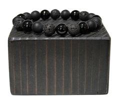 "BOYBEADS ""Craig"" or volcanic lava + wood mens bead bracelet Beaded Jewelry, Beaded Bracelets, Men's Jewelry, Jewelry Ideas, Jewlery, Bangles, Lava Bracelet, Bracelets For Men, Stretch Bracelets"