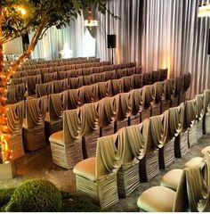 #draped chair covers, wedding decor, aisle decor www.tablescapesbydesign.com https://www.facebook.com/pages/Tablescapes-By-Design/129811416695