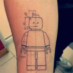 A happy Lego lovin' blueprint. | 32 Lego Tattoos That Will Thrill Your Inner Child