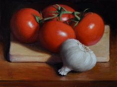 "Daily Paintworks - ""Tomato and Garlic"" - Original Fine Art for Sale - © Debra Becks Cooper"