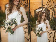 Bride/Bouquet - White Roses - Gate
