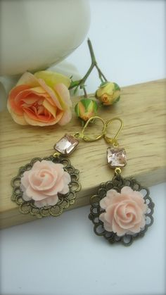 LUSCIOUS PEACH  Beautiful Peach Rose Cabochons / by NoisyButterfly, $24.50, #noisybutterfly