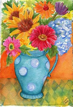 Sunflowers, Zinnias, Hydrangeas and Gerbers, Blue Spotted Pitcher watercolor painting original How about some bright fun flowers with a zippy Watercolor Mixing, Watercolor Disney, Watercolor Flowers, Watercolor Paintings, Original Paintings, Art Floral, Pitchers Of Flowers, Art Fantaisiste, Paint And Sip