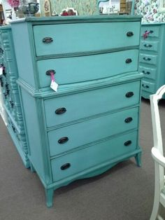 $179 - Antique 5 drawer tallboy style dresser painted turquoise and distressed with original metal hardware.  **** In Booth H12 at Main Street Antique Mall 7260 E Main St (east of Power RD on MAIN STREET) Mesa Az 85207 **** Open 7 days a week 10:00AM-5:30PM **** Call for more information 480 924 1122 **** We Accept cash, debit, VISA, Mastercard, Discover or American