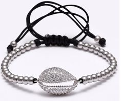 Handmade shell Zircons jewelry- 4mm Titanium Steel Beads & Micro Paved Bangle // Price: $16.49 & FREE Shipping Worldwide //     #shoes #heels #styles #outfit #purse #jewelry #shopping #glam