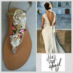 Handmade leather sandals with pearls designed by Elli lyraraki