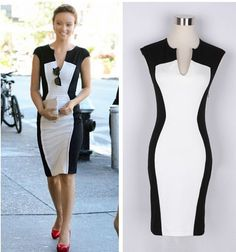 Summer 2014 Fashion Sleeveless Dress Women's Black And White Patchwork Pencil Dress Women V-neck Casual Dresses Plus Size Sexy(China (Mainland)) Casual Dresses, Fashion Dresses, Dresses For Work, Cheap Dresses, Stylish Dresses, Casual Wear, Cocktail Length Dress, Cocktail Dresses, Dress Up