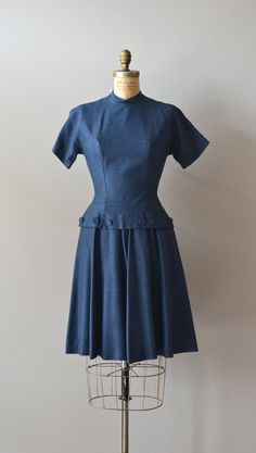 vintage 1950s dress / gabardine 50s dress / Twentieth Century dress