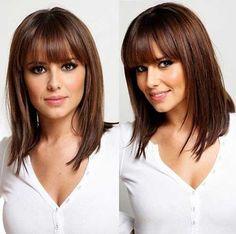 Medium Short Haircuts with Bangs