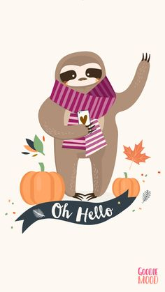 Wallpaper Iphone 6 October 2016 Calendar - Funny Sloth Illustration - Halloween - Fond d'écran calendrier pour le mois d'octobre 2016 - Illustration de paresseux goodiemood.com