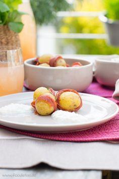 Spargel-Ricotta-Creme mit Kartoffeln im Schinkenkleid von den [Foodistas] - http://foodistas.de/