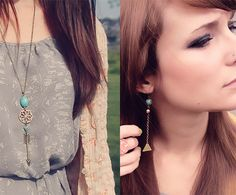 Roots and Feathers necklace and earrings on the lovely Melissa of Bubby & Bean