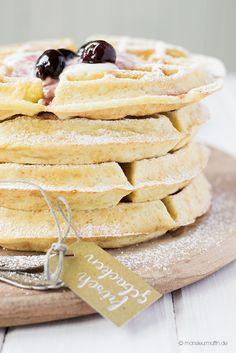 Coconut and almond flour waffles with hot cherries & whipped cream ♥