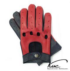 Męskie skórzane rękawiczki do jazdy samochodem - czerwono-granatowe