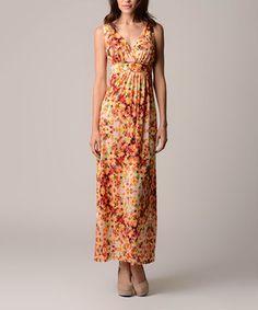 Loving this Christine V Coral Kaleidoscope Empire-Waist Maxi Dress - Women on #zulily! #zulilyfinds