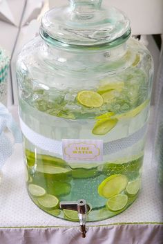 Lime Water~Could have these at the bar. Could even be lemon, cucumber, and mint water. Refreshing on a summer day