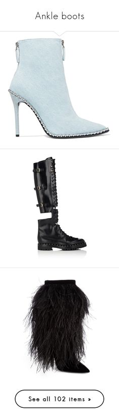 """Ankle boots"" by mollface ❤ liked on Polyvore featuring shoes, boots, ankle booties, ankle boots, black studded booties, high heel bootie, black pointy booties, short black boots, black and over-the-knee boots"