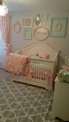 Nursery vintage shabby chic pink and mint green by Stanton Interior Decorating and Staging in West Chester Ohio - Baby Nursery Today Shabby Chic Baby, Shabby Chic Bedrooms, Nursery Twins, Nursery Room, Chic Nursery, Nursery Sets, Vintage Nursery, Baby Furniture, Furniture Ideas