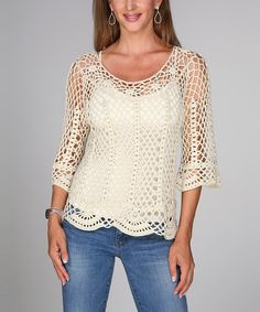 Beige Crocheted Scallop Three-Quarter Sleeve Top | Something special every day