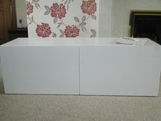 TV stands: BESTA TV storage with back hole, white