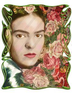 15 Frida Kahlo Digital Collage Instant Download Digital