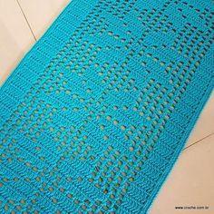 Tapete cravo de folhas - passo a passo (161) Filet Crochet, Crochet Stitches, Crochet Patterns, Crochet Home, Blanket, Mousse, Pasta, Knitted Rug, Blue Carpet