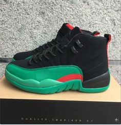 New Air Jordan 12 Retro Black Green Red Shoes
