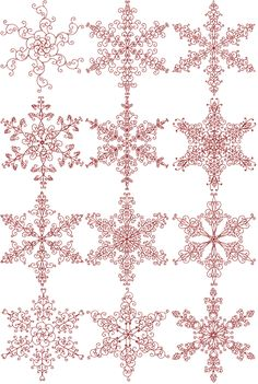 Snowflakes, in red work. Use for paper quilling, embroidery Cross Stitching, Cross Stitch Embroidery, Embroidery Patterns, Hand Embroidery, Cross Stitch Patterns, Machine Embroidery, Blackwork Patterns, Crochet Snowflakes, Snowflake Pattern