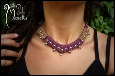 Macrame Collier Tribal Féerique lilas et argenté : Collier par bella-marietta