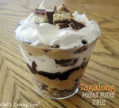 Tagalong Peanut Butter Trifle. Delicious individual sized trifles with layers of Tagalongs, peanut butter mousse, hot fudge, and whipped cream. #trifle #tagalong #peanut butter #chocolate